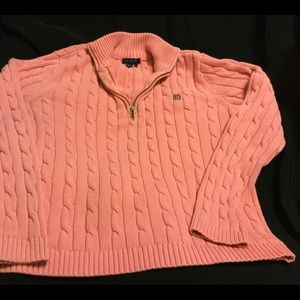 Pretty pink Ralph Lauren front zip sweater.Size L
